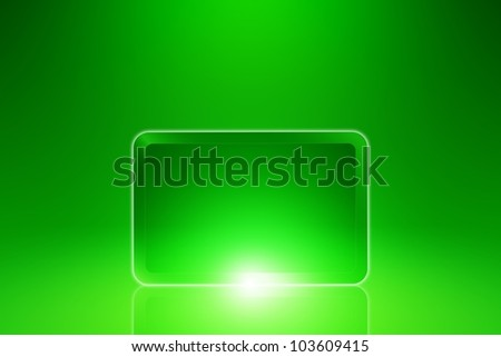 Abstract tablet PC, smartphone on green background with bright light