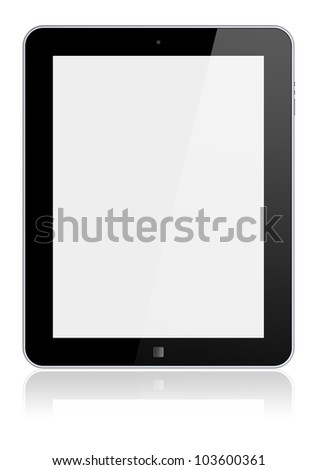 Abstract tablet PC with blank screen. Isolated on a white. 3d image