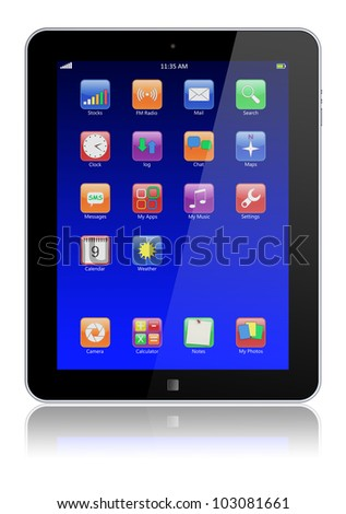 Abstract tablet PC with blue touchscreen and colorful apps . 3d image