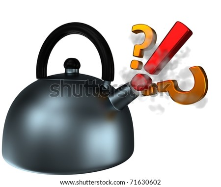 abstract teapot with pling and questions, 3d render isolated on white - stock photo