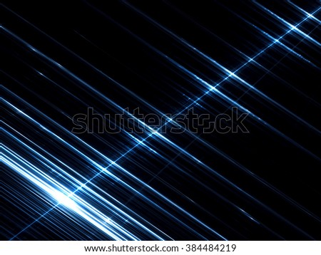 Abstract tech background - computer-generated image. Fractal art glowing white and blue stripes with metallic sheen on dark background. Simple and stylish backdrop for web design, posters and covers - stock photo