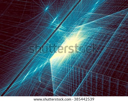 Abstract tech background computer-generated image. Fractal background with textured angled surface and light effects. Modern fractal artwork - bright blue backdrop for web-design, cover - stock photo