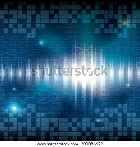 Abstract tech binary blue background - stock photo