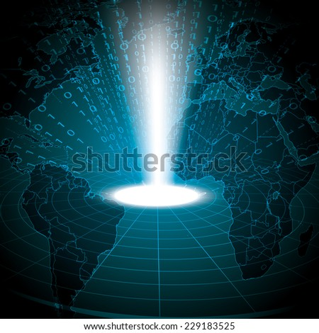 Abstract tech binary blue global information background  - stock photo