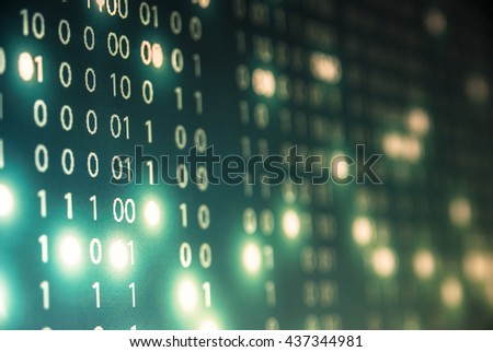 Abstract tech binary blue picture taked from perspective  - stock photo