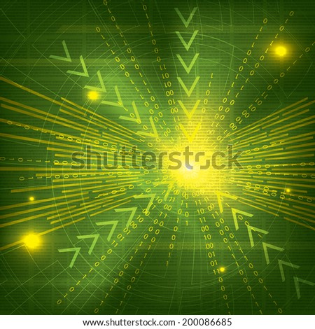 Abstract tech binary green background - stock photo
