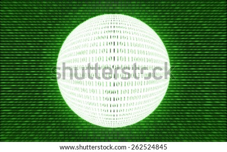 Abstract tech binary green bright background, ridial motion blur - stock photo