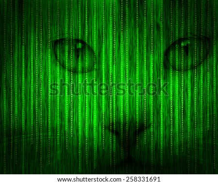 Abstract tech binary green cat background - stock photo