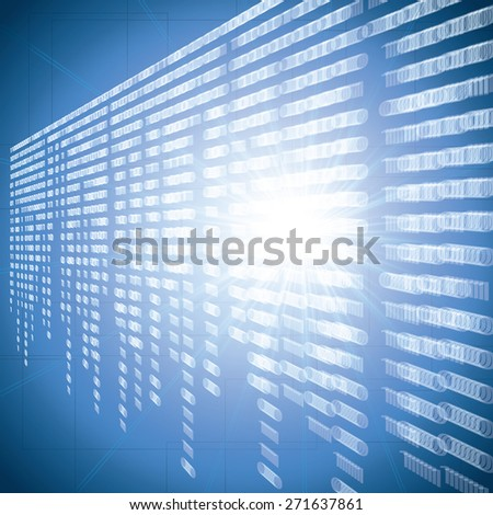 Abstract tech blur blurry binary blue background - stock photo