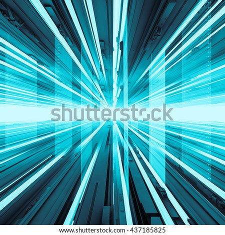 Abstract tech horizon / 3D illustration of abstract advanced technology background - stock photo
