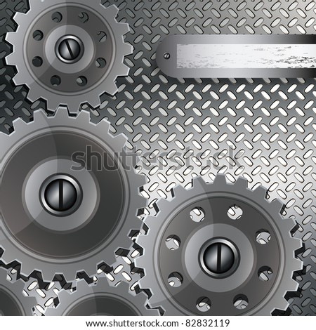 Abstract techno background with metal gears on a fluted texture. - stock photo