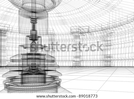 Abstract technolgy interior in 3D wire-frame - stock photo