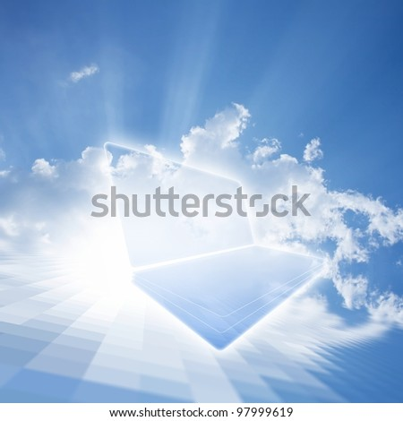 Abstract technological background - cloud computing. Netbook in blue sky with white clouds and sun - stock photo