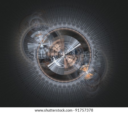 abstract technological fractal background - stock photo
