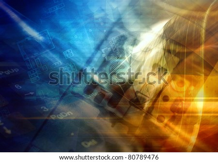 Abstract technology background, color illustration - stock photo