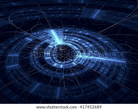 Abstract technology background - computer-generated image. Fractal background - blue disk with radiating from the center lines and metallic luster. For banners, covers, web design - stock photo