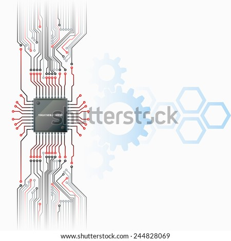 Abstract technology background; Electronic Chip connected at electronic circuits with cogwheels and hexagons in background.  - stock photo