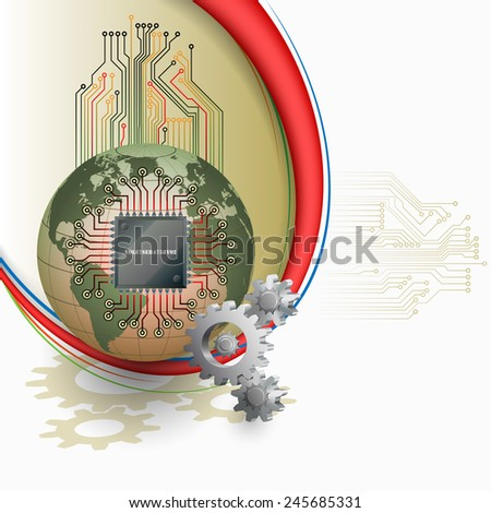 Abstract technology background; Electronic Chip connected with Earth globe and in front cogwheels as symbol of technology.  - stock photo