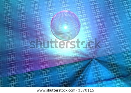 Abstract technology background in blue with digital bubble - stock photo