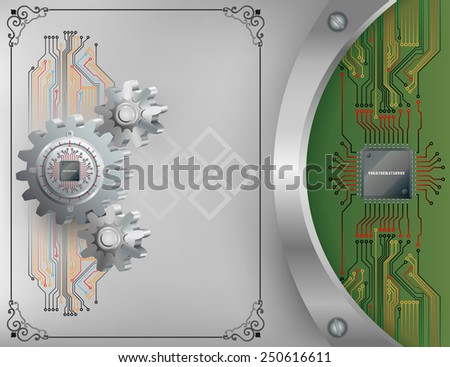 Abstract technology background;Processor Chip attached to circular metallic device nailed to cogwheel with screws and Electronic circuit connected at processor chip.  - stock photo