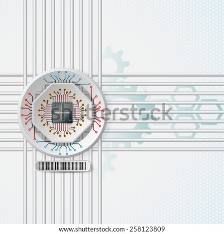 Abstract technology background;Processor Chip attached to white device connected with circuit board; White three dimension machinery printed with circuits.  - stock photo