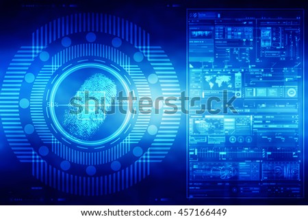 Abstract technology background.Security system concept with fingerprint Letter P sign,2d illustration - stock photo