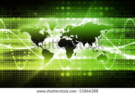 Abstract Technology Background With a Glowing Map - stock photo