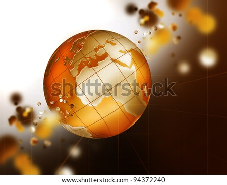 abstract technology background with an orange planet - stock photo