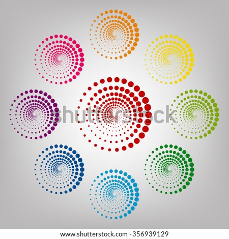 Abstract technology circles sign. Icons colorful set
