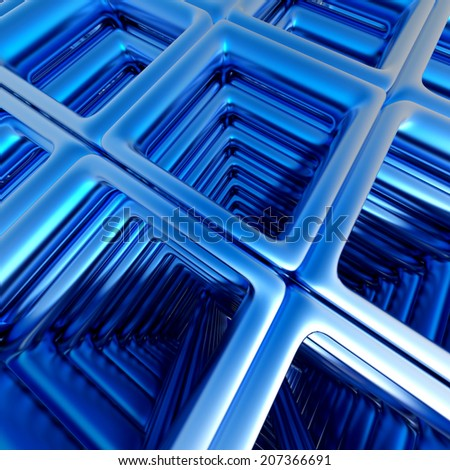 Abstract technology 3D background with blue metallic rectangles.