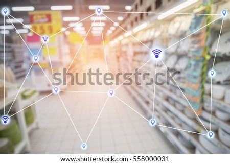 Abstract technology futuristic network - Shopping Mall background.