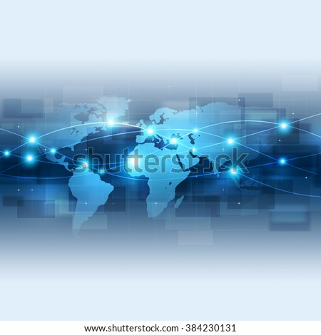 abstract technology global network connection blue background - stock photo
