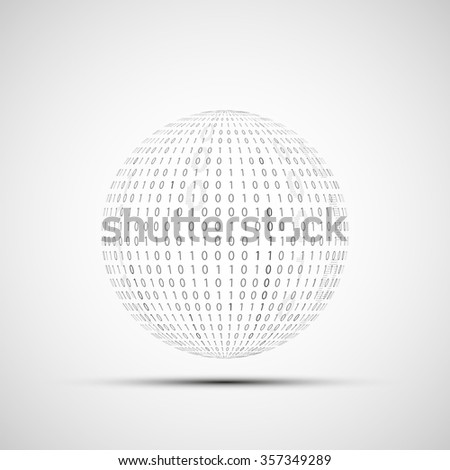 Abstract Technology logo. Ball of binary code. Stock illustration. - stock photo