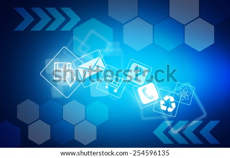 Abstract technology on dark blue background