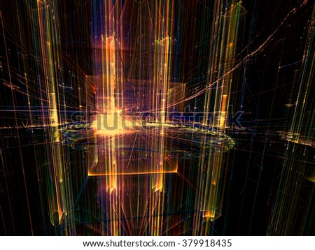 Abstract technology or business background - computer-generated orange image. Fractal background glowing glass cylinders. For posters, covers and web-design - stock photo