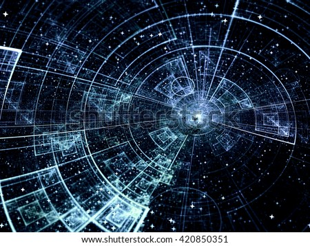 Abstract technology or scientific background - computer-generated blue image. Fractal backdrop with tech style disk, stars and rays. For covers, banners, web-design. - stock photo