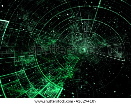 Abstract technology or scientific background - computer-generated image. Fractal background with tech style disk, stars and rays. For covers, banners, web-design. - stock photo