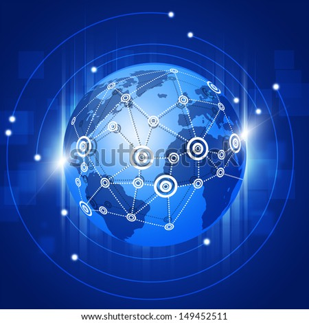 abstract technology world global network business connection blue background - stock photo