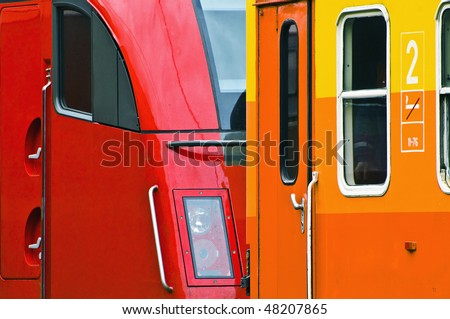 abstract tele-lens closeup of a colorful passenger train