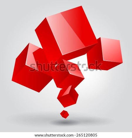 Abstract template with red cubes - stock photo