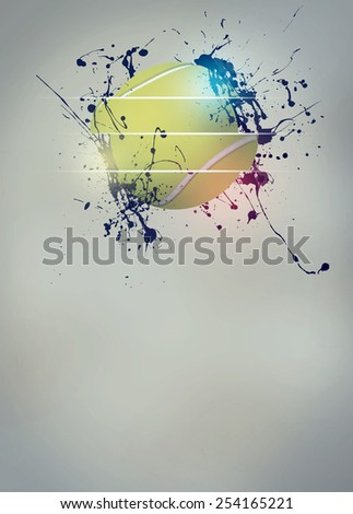 Abstract tennis sport invitation poster or flyer background with empty space - stock photo