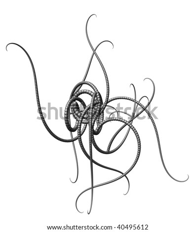 abstract tentacle thing on  white background - 3d illustration - stock photo