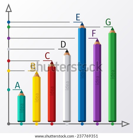 Abstract text banner with pencil for your creative presentation. Business education pencil staircase infographics option. Raster version - stock photo