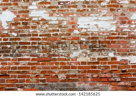 Abstract Texture Background of rows of Old Red Bricks - stock photo