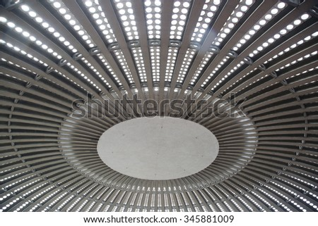 Abstract texture ceiling roof structure inside light - stock photo