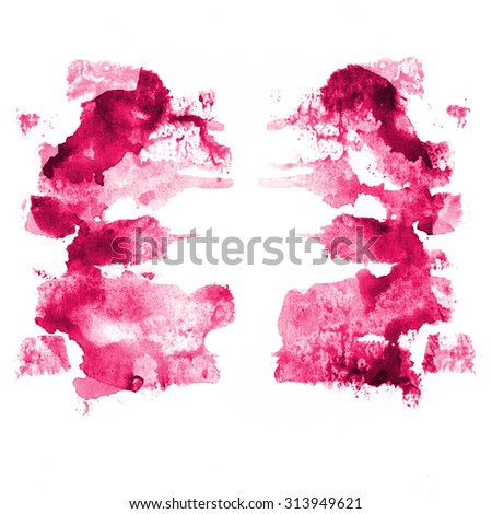 Abstract texture of a fullcolor paint stain, handmade art element for design, texture on a white background, pink color