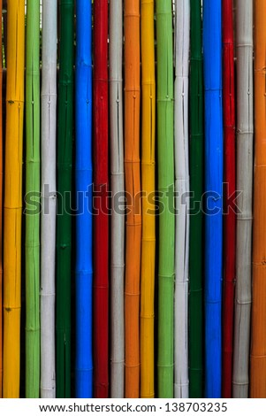 Abstract texture of dyed bamboo sticks