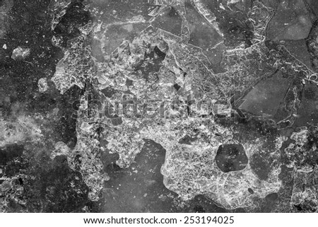 abstract texture of the broken ice of gray color - stock photo