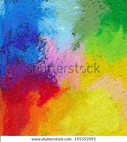 Abstract textured acrylic and oil pastel hand painted background. Impressionism style. - stock photo
