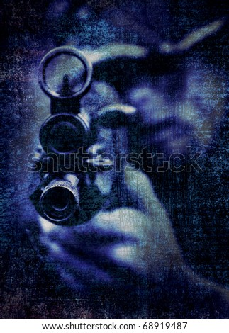abstract, textured and toned threatening image of an unidentifiable military type person aiming a rifle past the photographer - stock photo